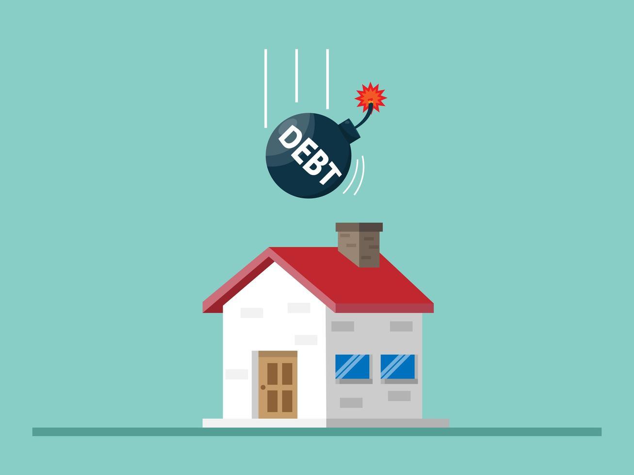 huis met schuldbom, hypotheekconcept vector