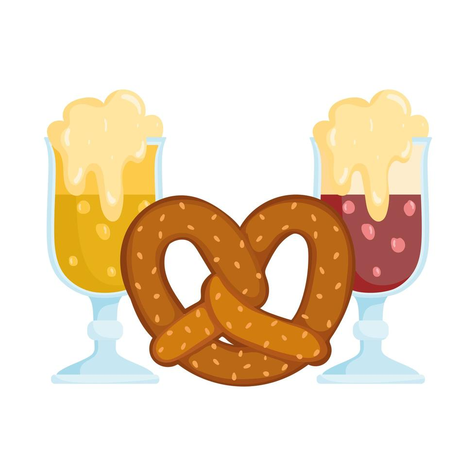 Oktoberfest-festival, bier met schuim en krakelingvoedsel, traditionele Duitse viering vector
