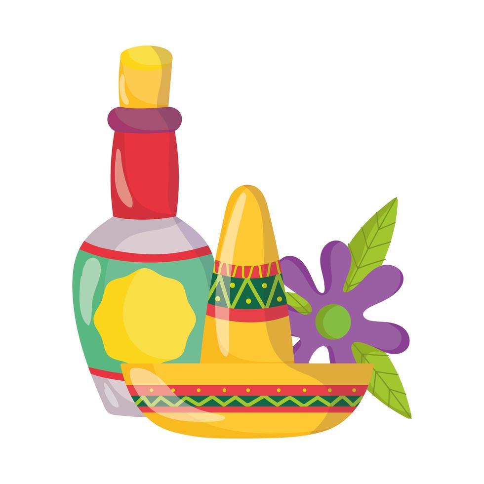 Mexicaanse onafhankelijkheidsdag, tequila fles drink hoed en bloem, viva mexico wordt gevierd in september vector