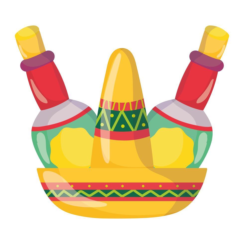 Mexicaanse onafhankelijkheidsdag, traditionele hoed, tequilaflessen, gevierd in september vector