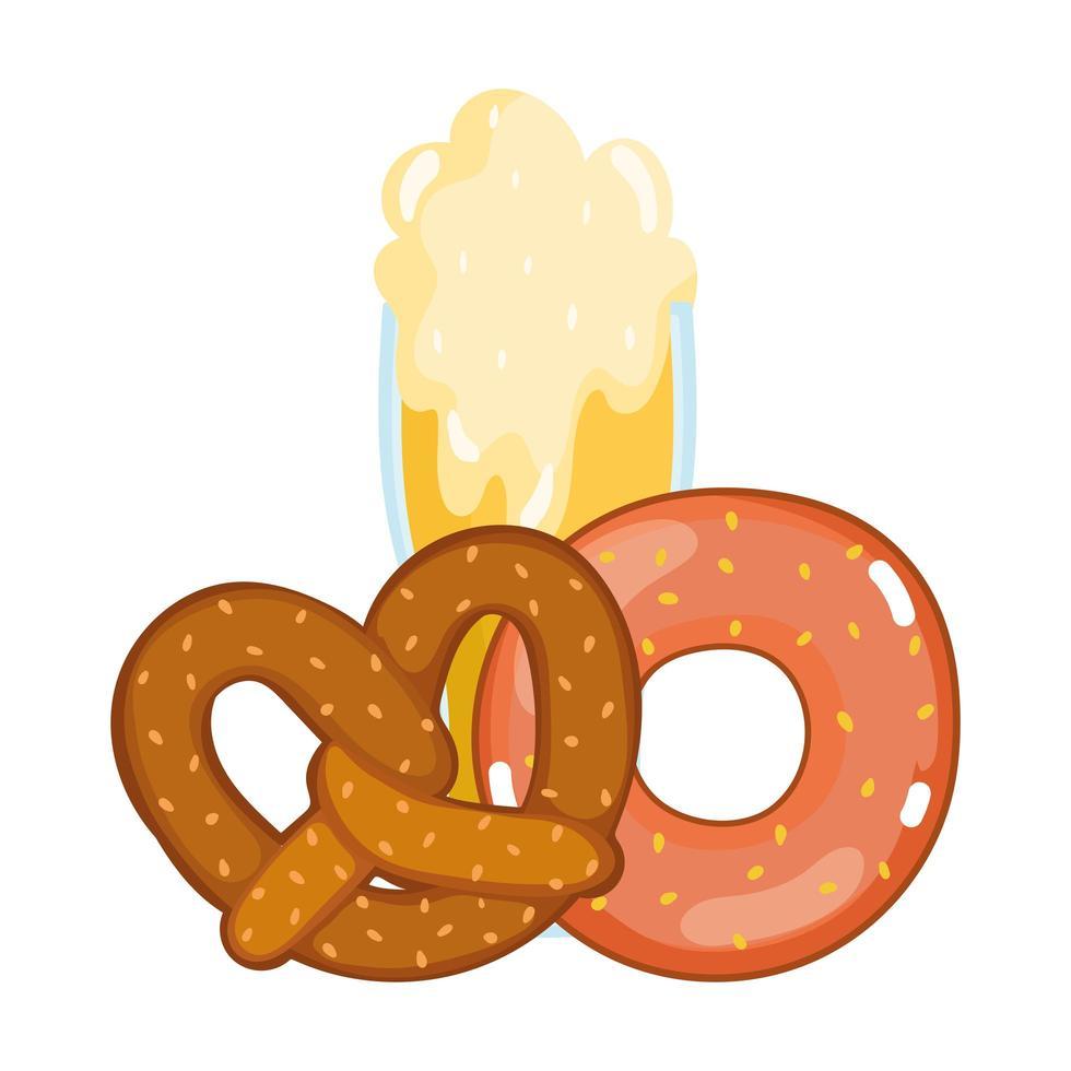 Oktoberfestfestival, bierdoughnut en krakeling, traditionele Duitse viering vector