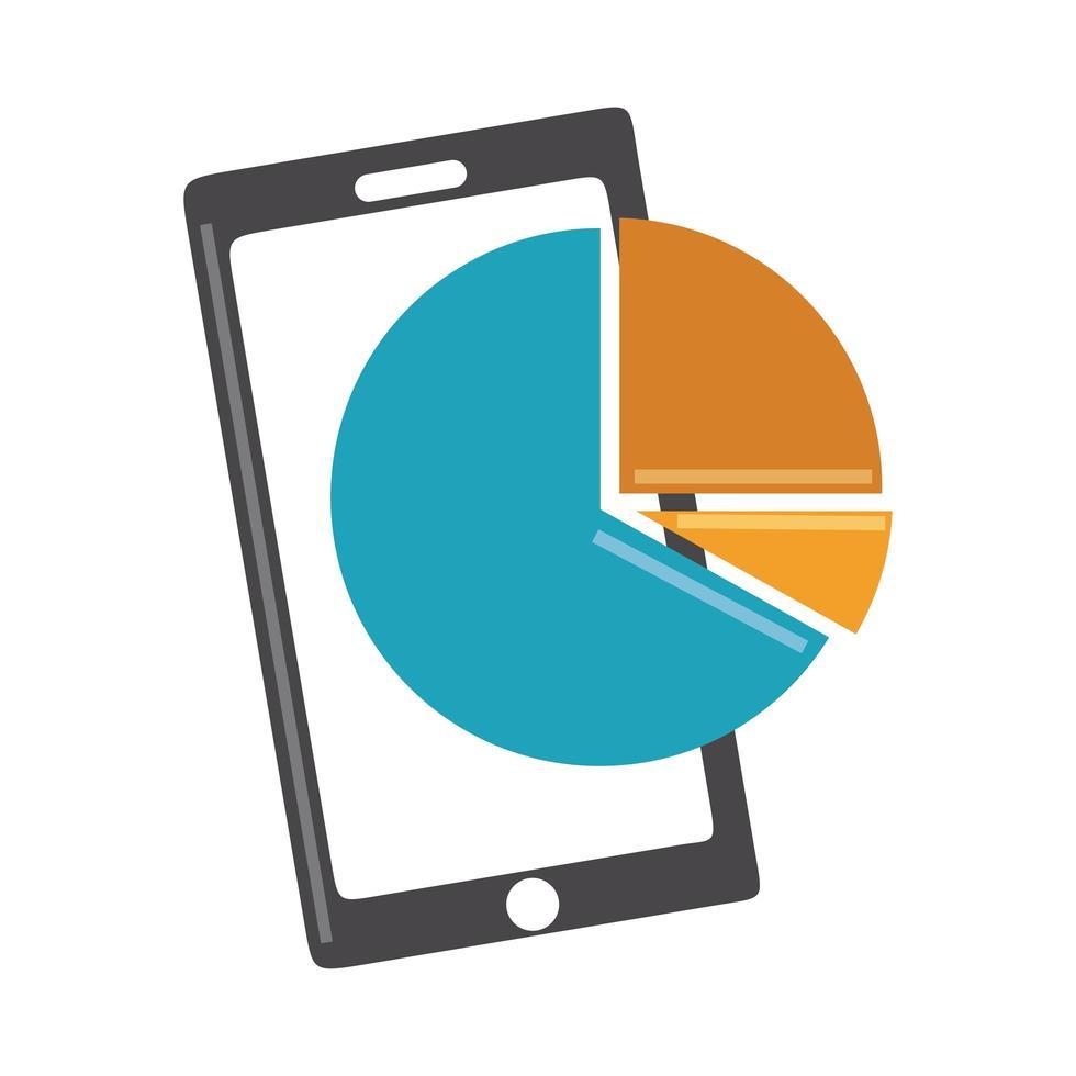 data-analyse, smartphone cirkeldiagram rapport digitale bedrijfsstrategie en investeringen plat pictogram vector