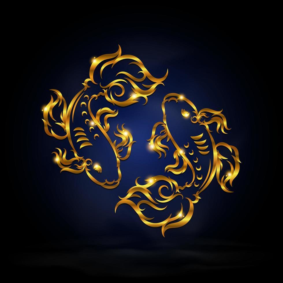 gouden vissen sterrenbeeld symbool vector