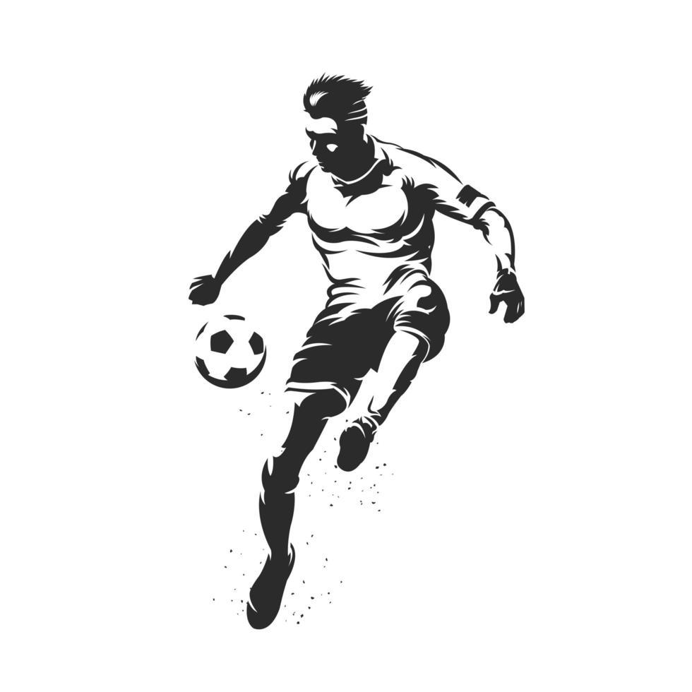 voetbalsilhouet dat een voetbal schopt vector