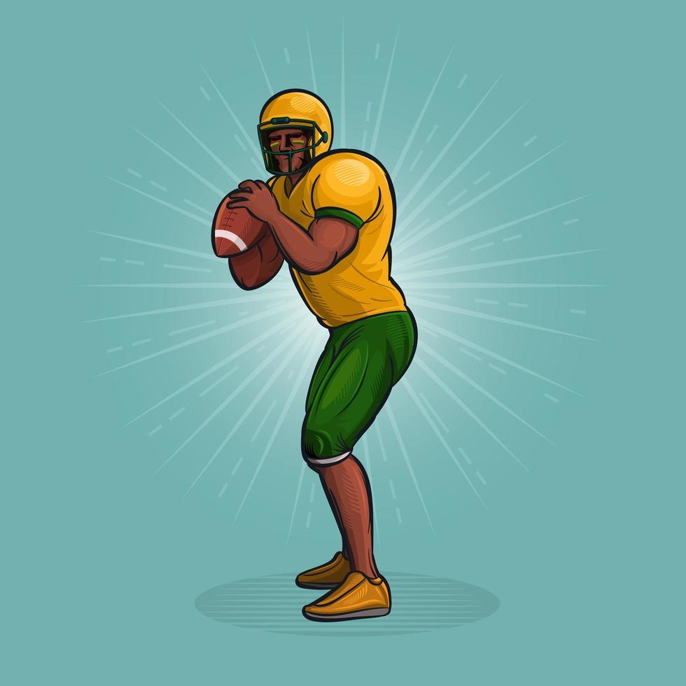American football-speler voorbereiden om de bal te gooien vector
