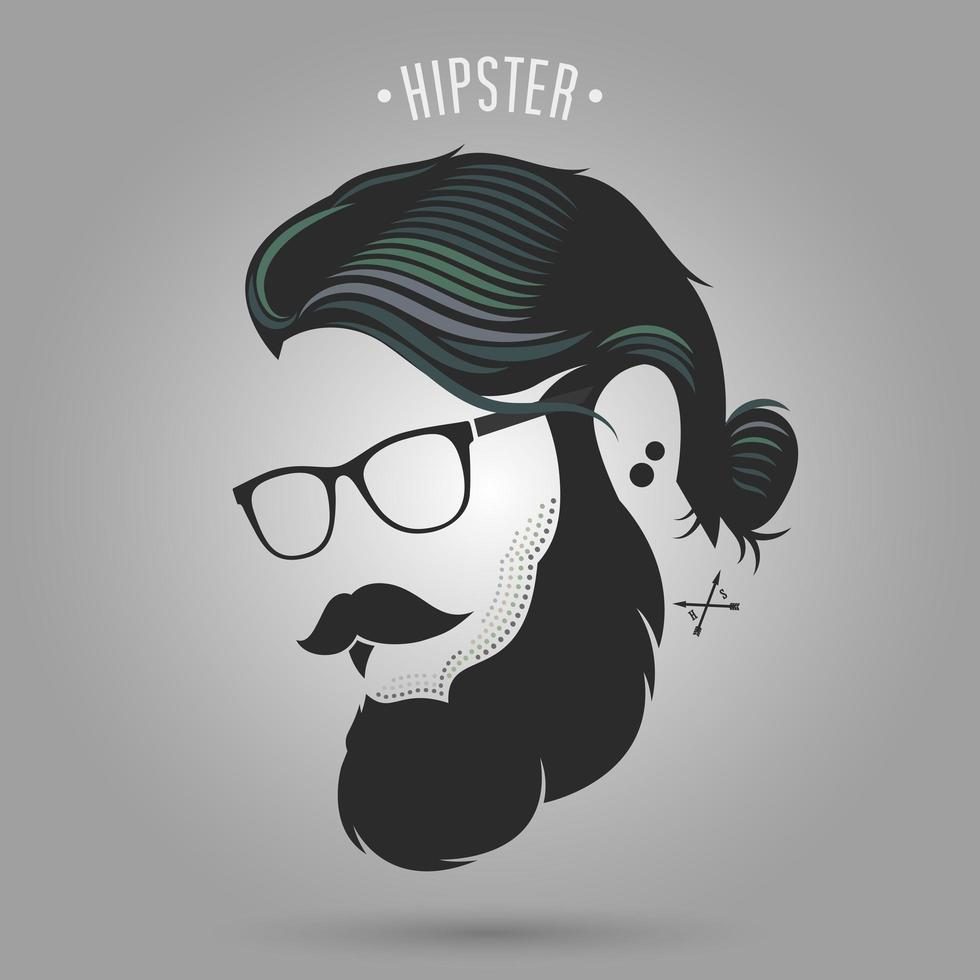 hipster man met broodje, snor en bril vector
