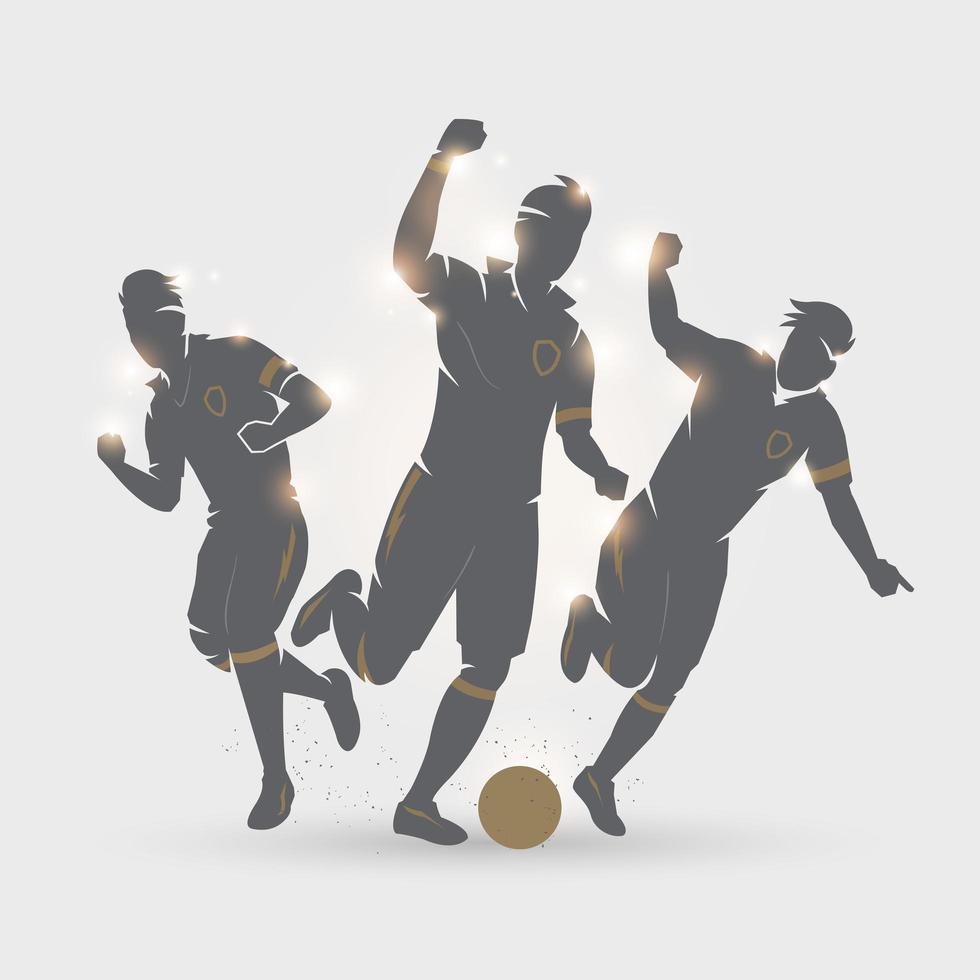 drie voetballers vieren vector