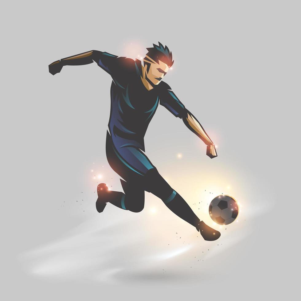 voetballer die een voetbal schopt vector