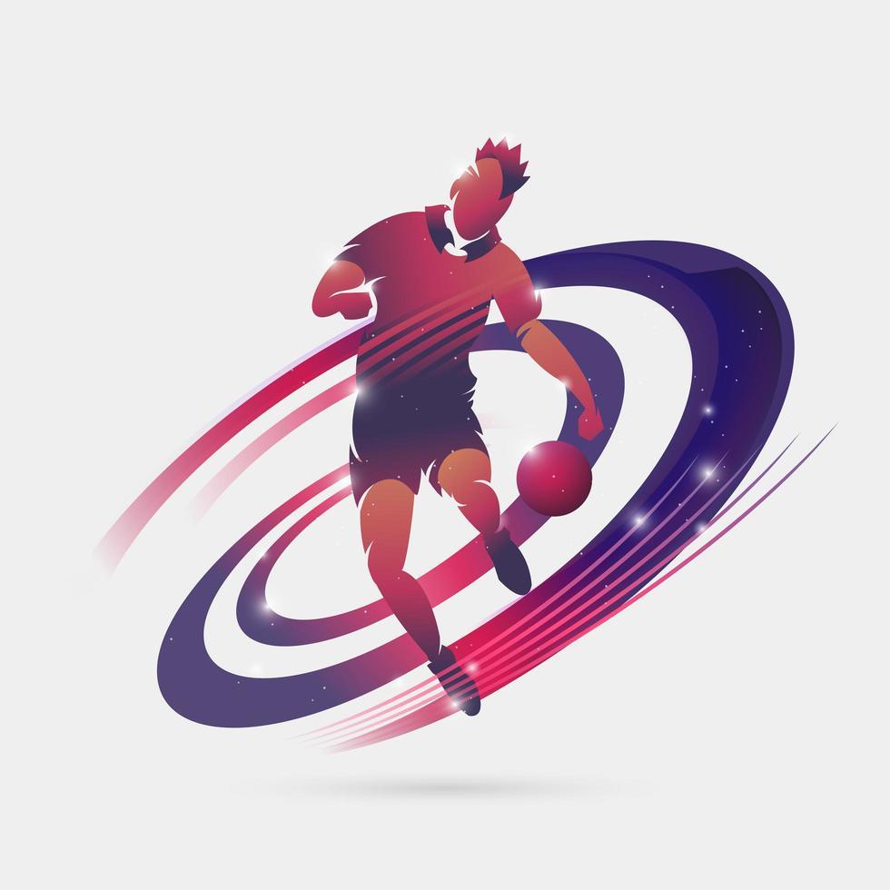 voetbalspeler met ruimtekleurontwerp vector