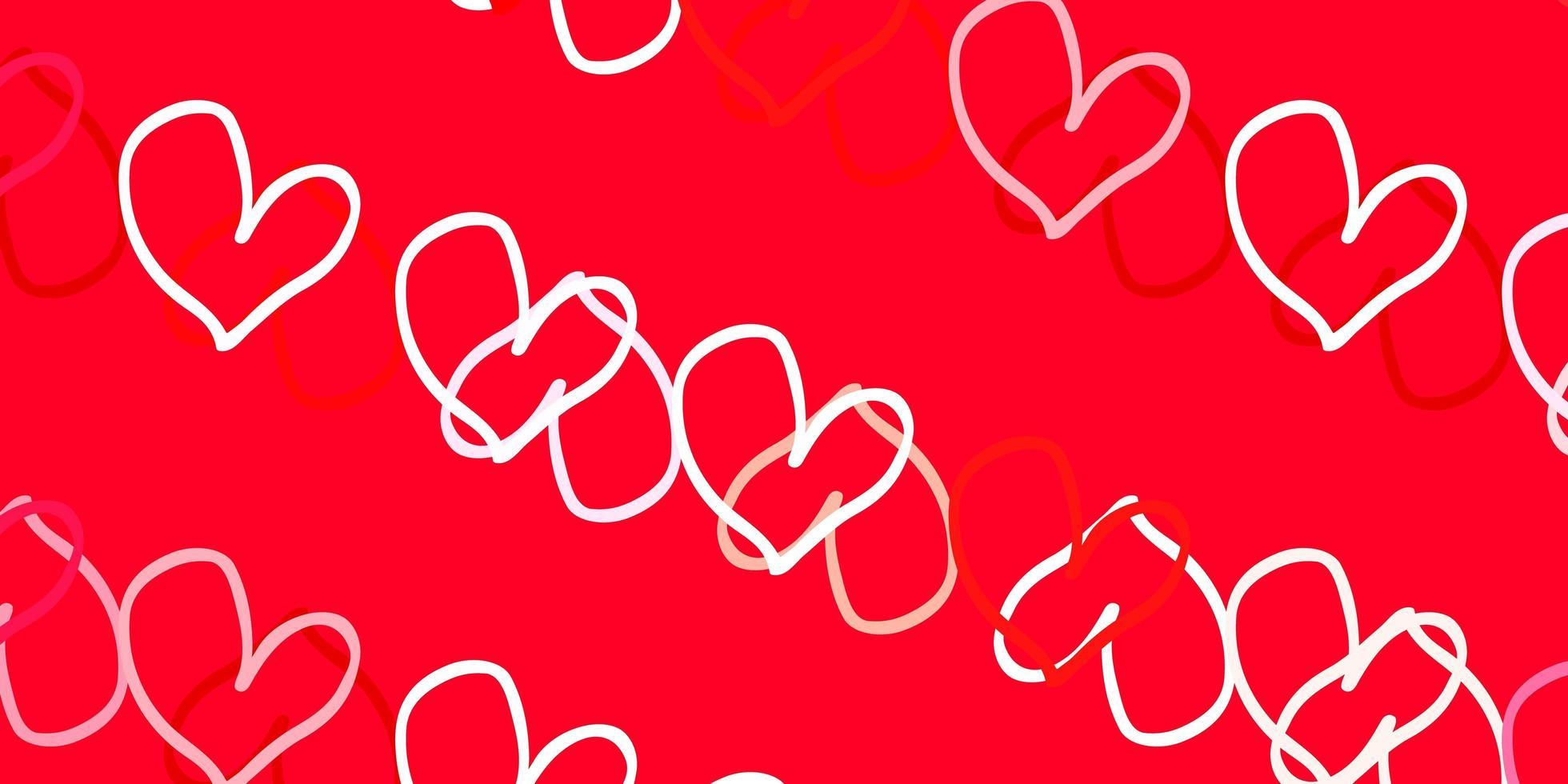lichtrode vectortextuur met mooie harten. vector