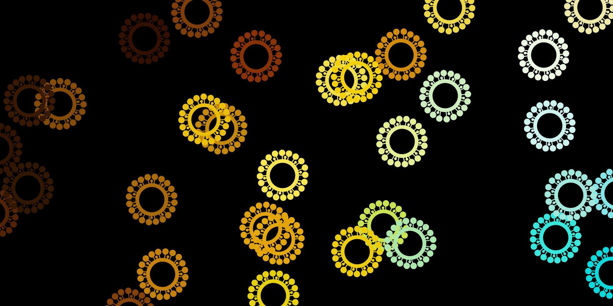 donkerblauwe, gele vectorachtergrond met covid-19 symbolen. vector