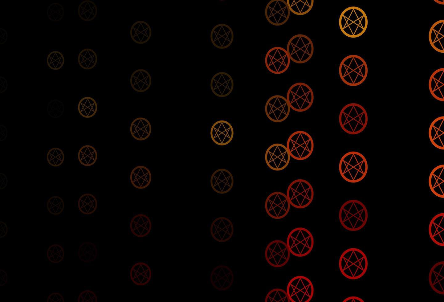 donkeroranje vectorpatroon met magische elementen. vector