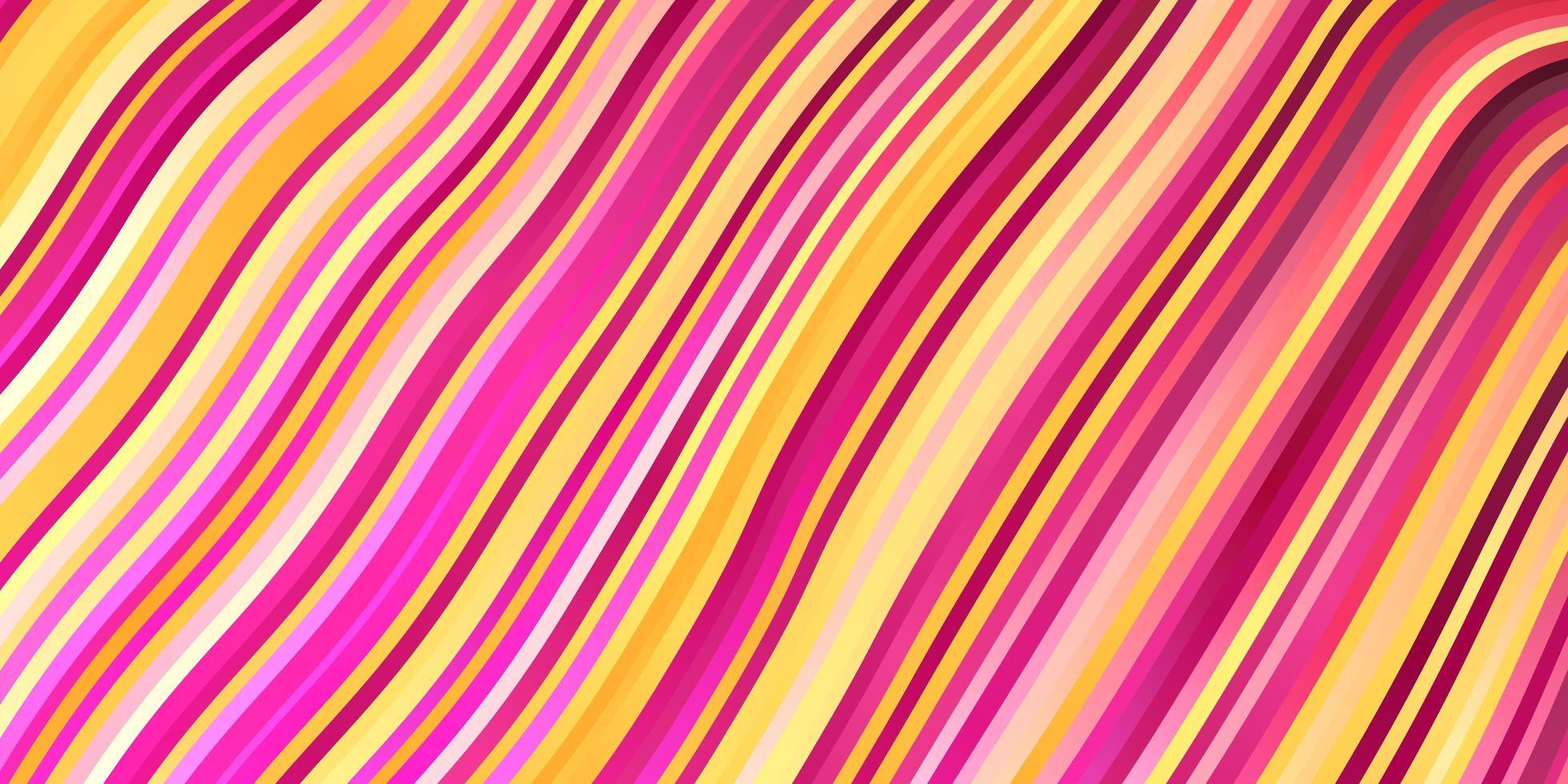 lichtroze, geel vectorpatroon met wrange lijnen. vector