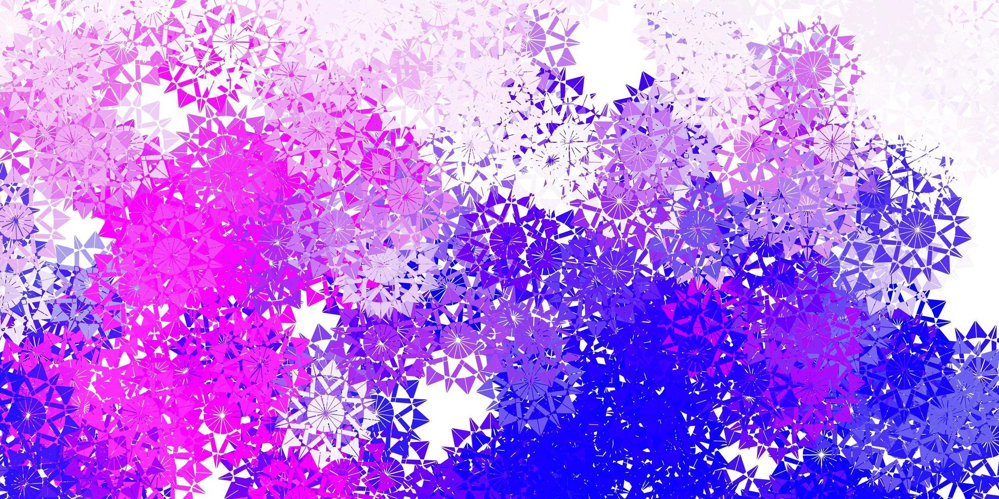 lichtroze, blauw vectormalplaatje met ijssneeuwvlokken. vector