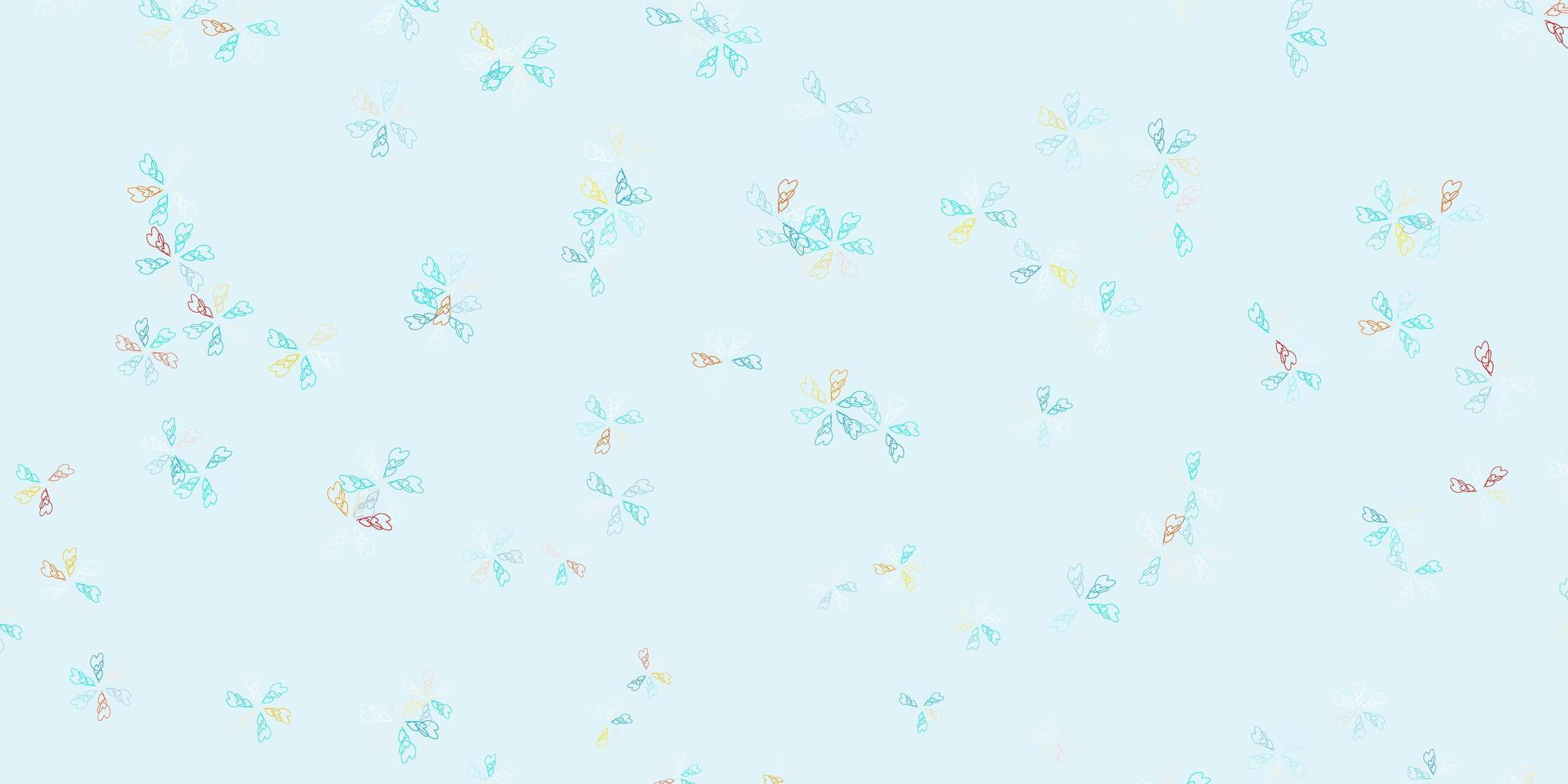 lichtblauwe, gele vector abstracte lay-out met bladeren.