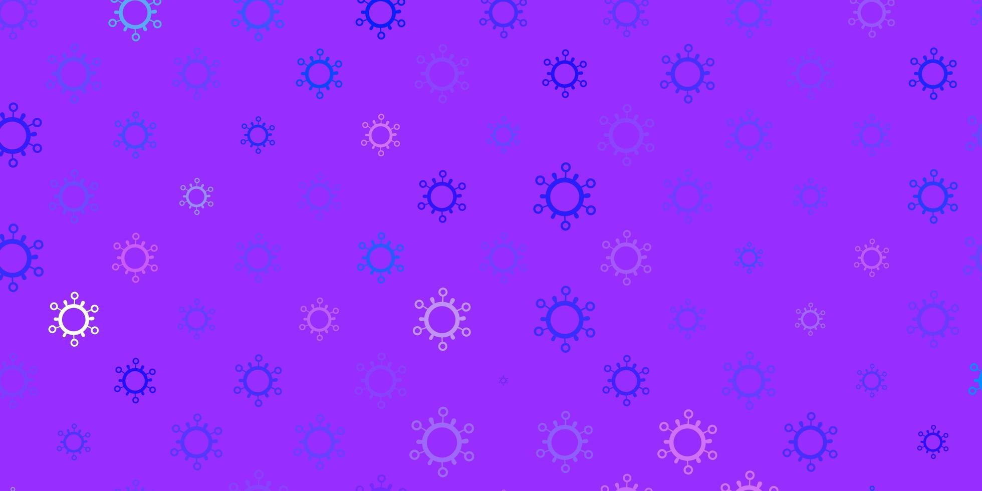 lichtpaarse vector achtergrond met covid-19 symbolen