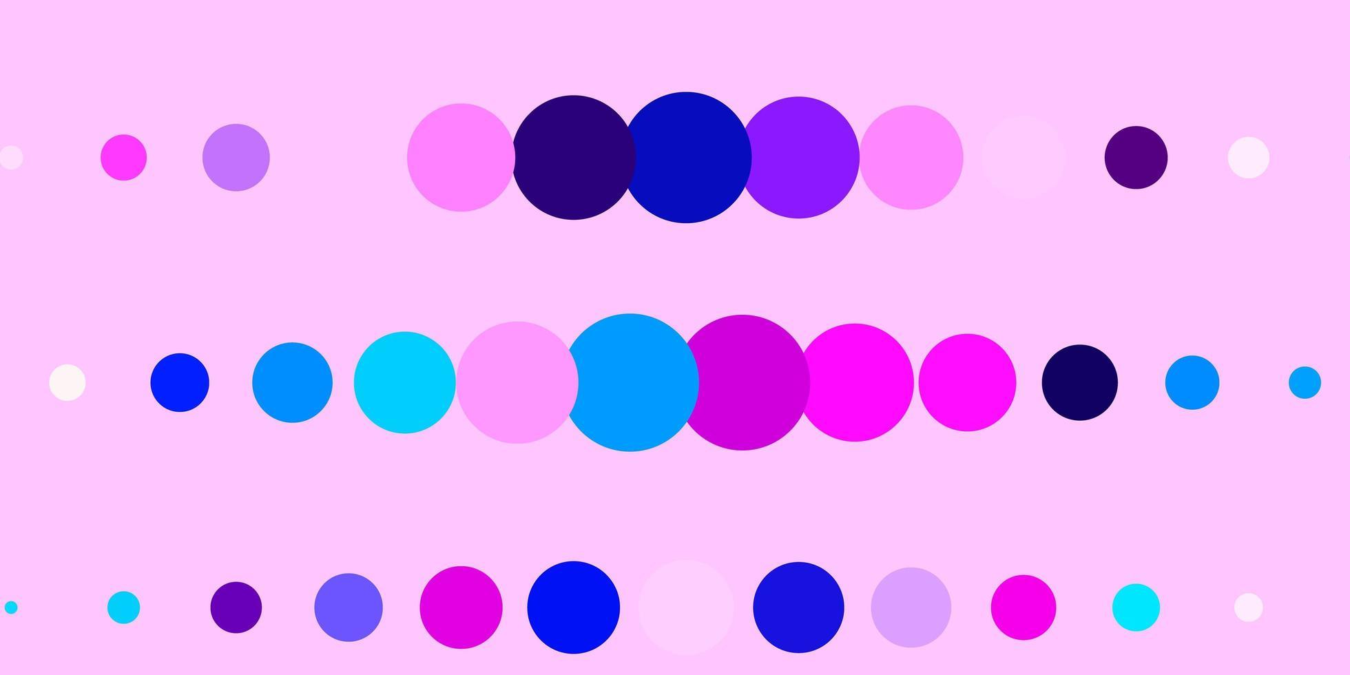 donkerroze, blauwe vector sjabloon met cirkels.