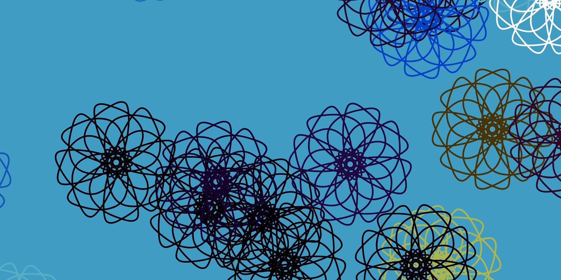 lichtblauw, geel vector doodle sjabloon met bloemen.