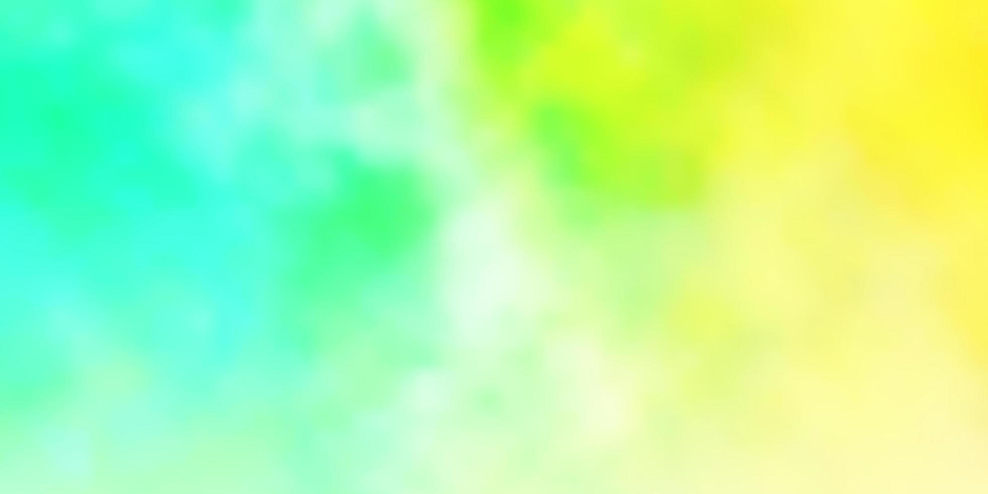 lichtgroene, gele vectorlay-out met cloudscape. vector