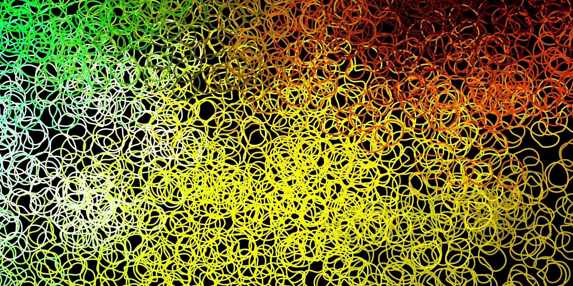 donkergroene, gele vectortextuur met vormen van Memphis. vector