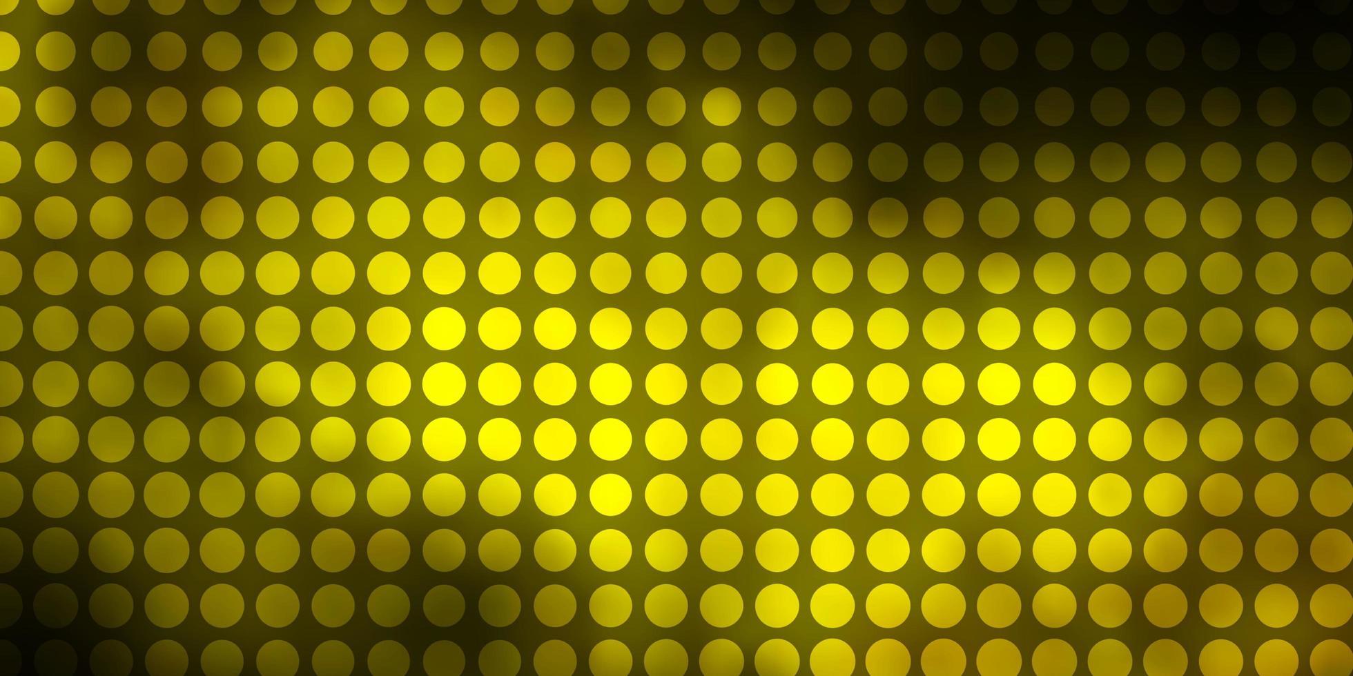 donkergroene, gele vectortextuur met cirkels. vector