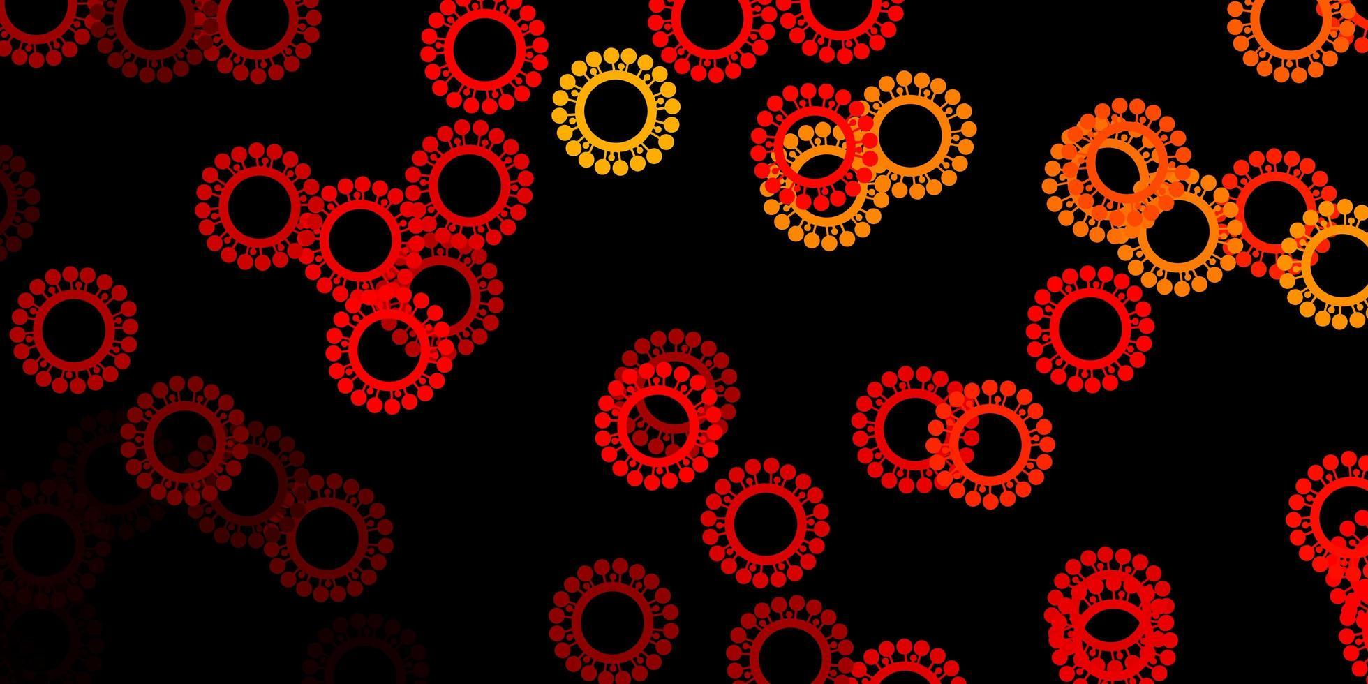 donkeroranje vector achtergrond met covid-19 symbolen.