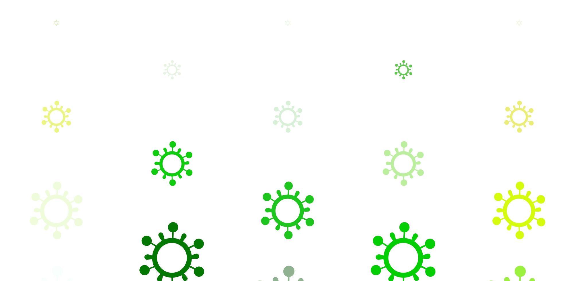 lichtgroene, gele vectorachtergrond met virussymbolen vector