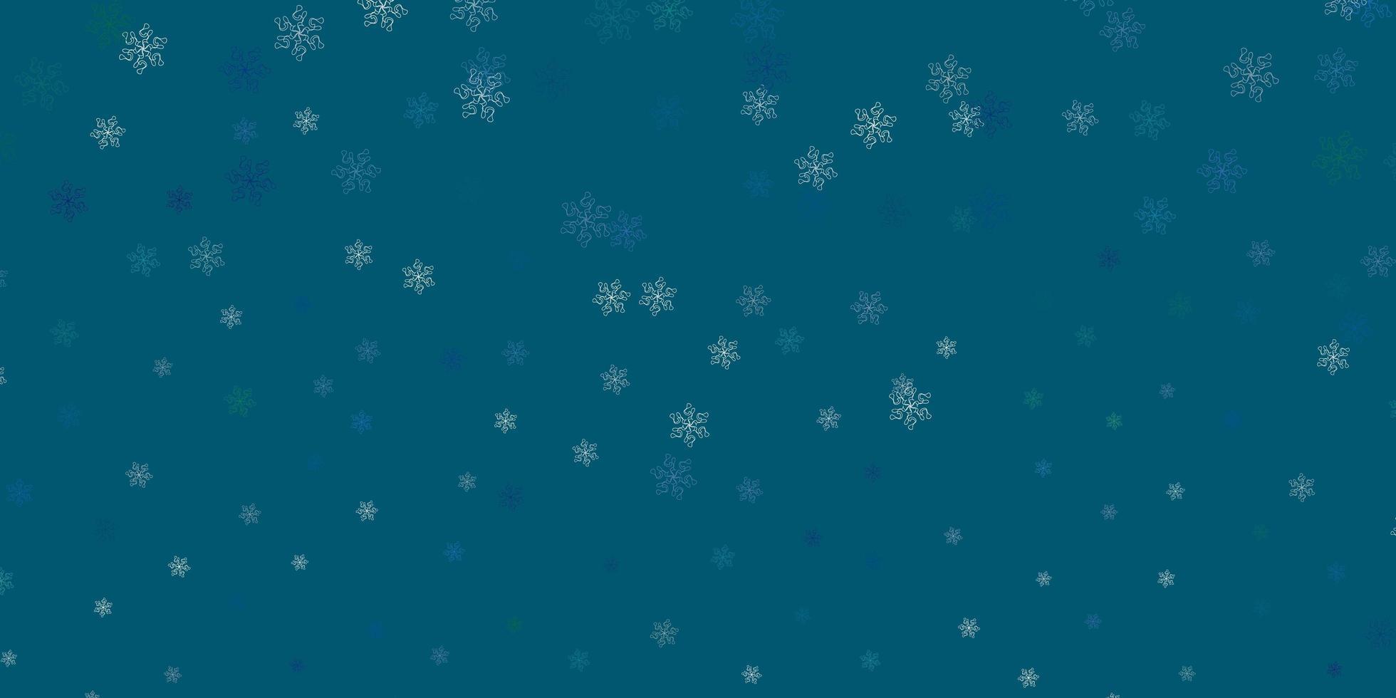 lichtblauwe, groene vector natuurlijke achtergrond met bloemen.
