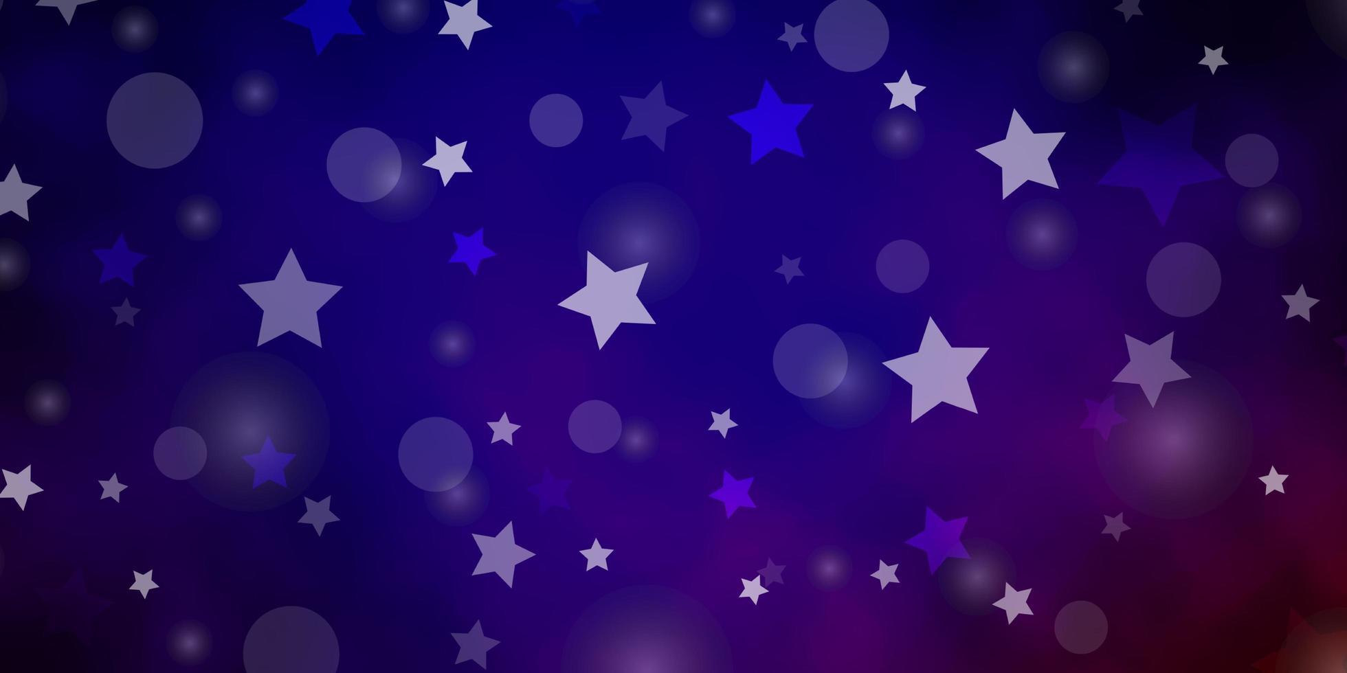 donkerblauwe, rode vectorachtergrond met cirkels, sterren. vector