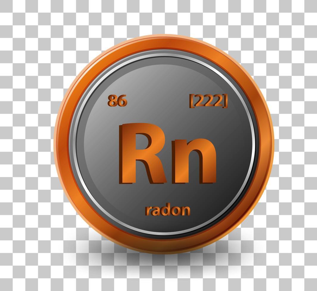 radon scheikundig element. chemisch symbool met atoomnummer en atoommassa. vector