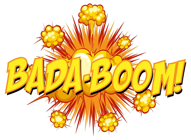 komische tekstballon met bada-boom-tekst vector