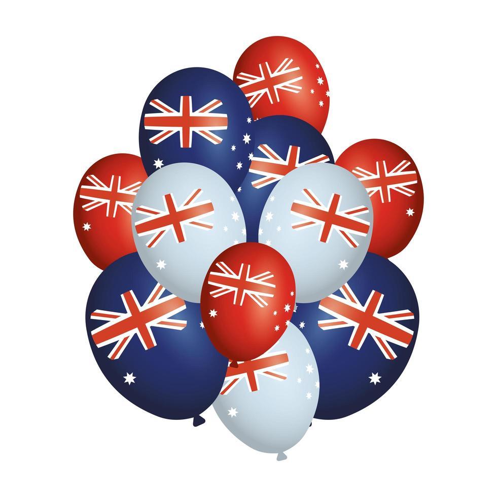 australië dagviering met ballonnen en vlaggen vector