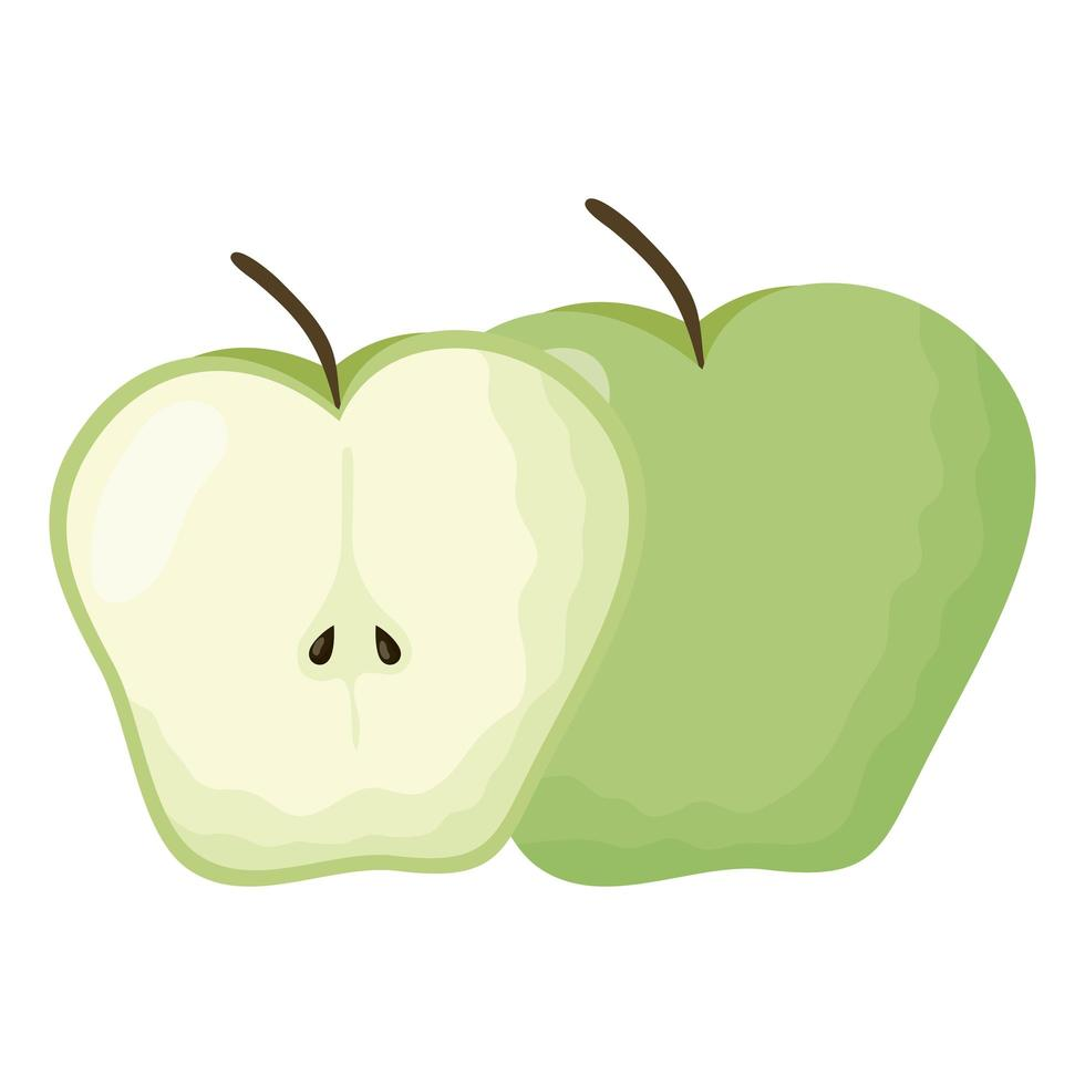 appel vers fruit geïsoleerde pictogram vector