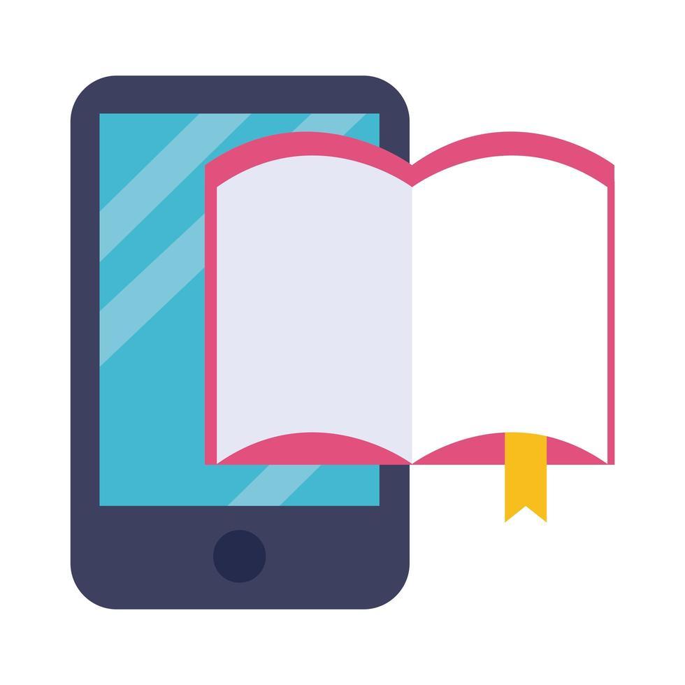 elektronisch boek in smartphone-onderwijs online vlakke stijl vector
