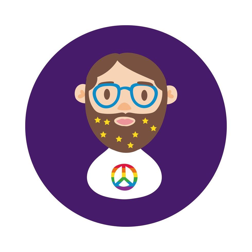 homoseksuele man tekenstijl blok vector