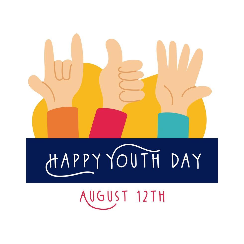 gelukkige jeugddag belettering met handen symbolen vlakke stijl vector