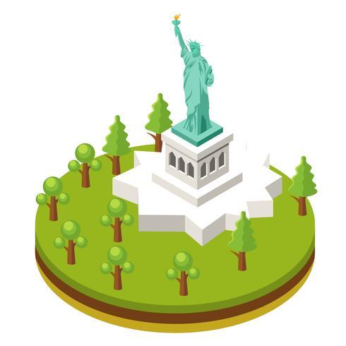 Isometrisch Liberty Statue in de Stad van New York vector