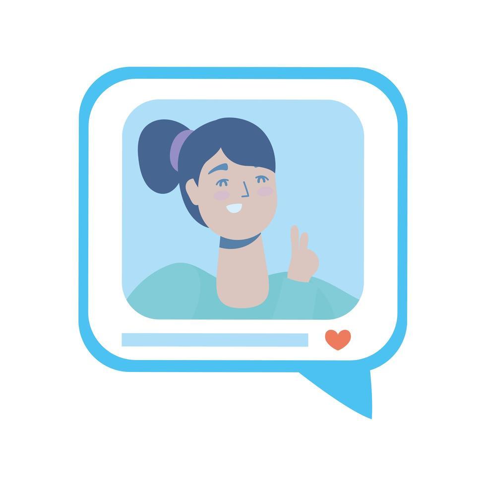 tekstballon met vrouw op sociale media vector