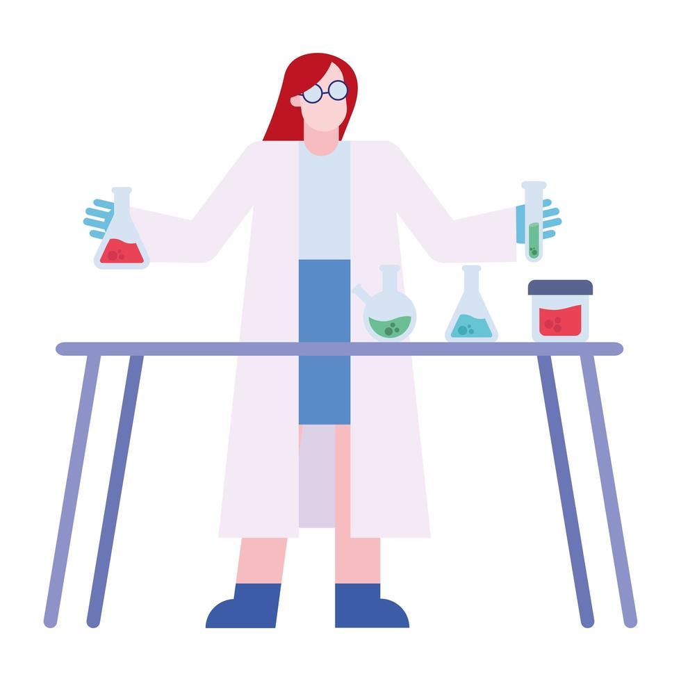 scheikundige vrouw met kolven en buis bij bureau vector ontwerp