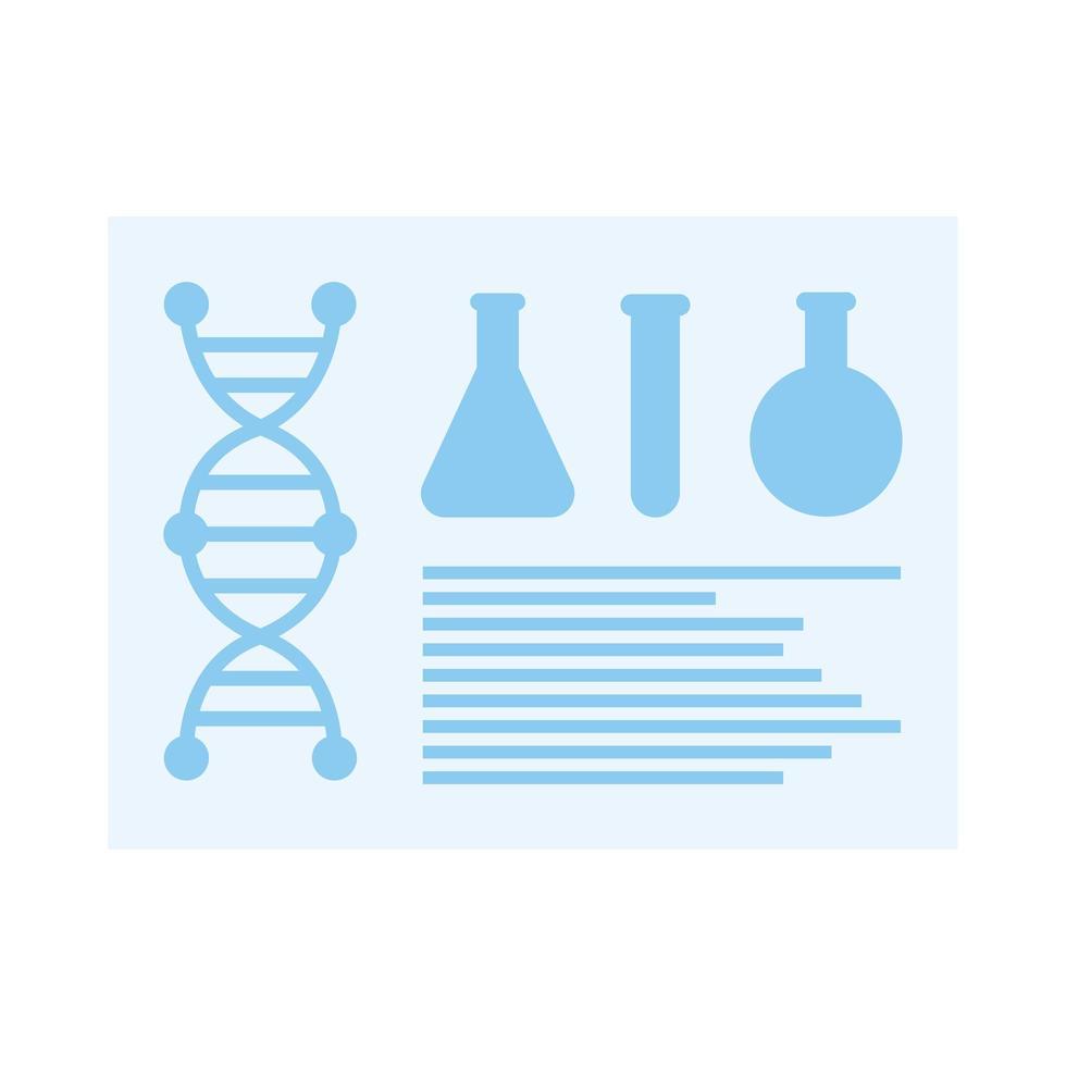 chemiekolven en dna-vectorontwerp vector