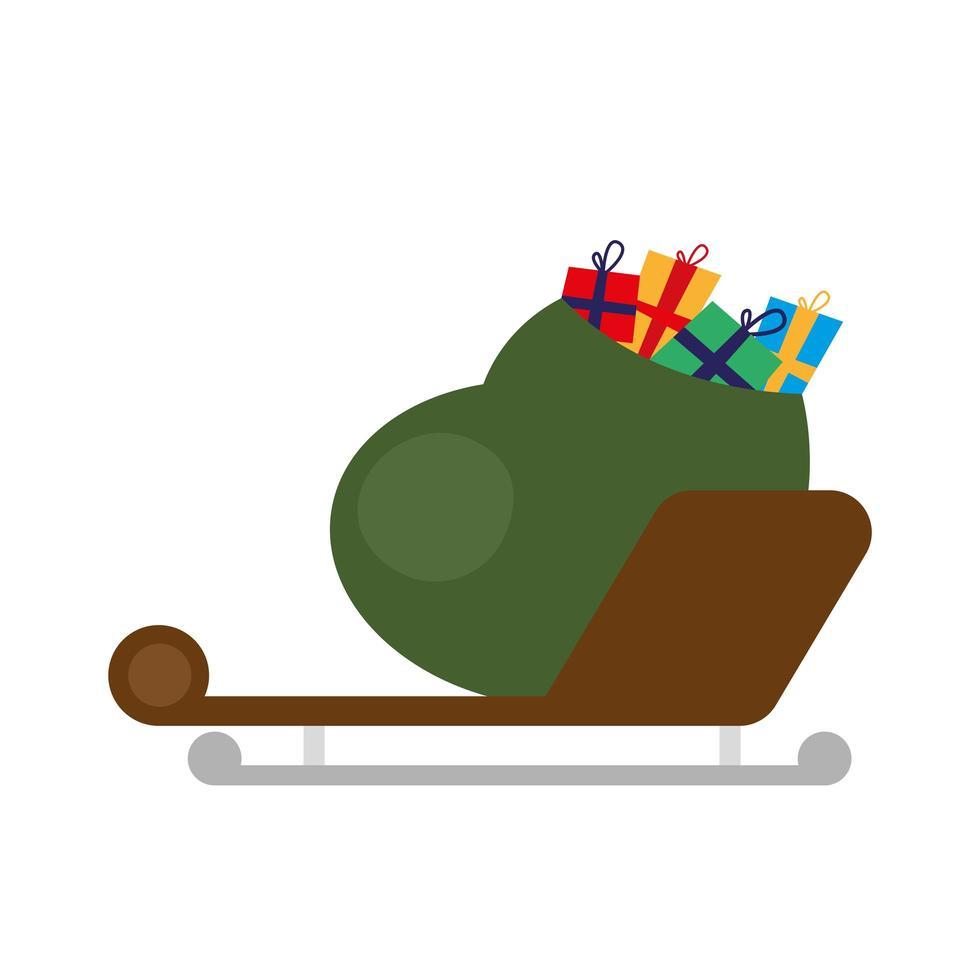 gelukkige merry christmas-cadeaus tas in slee vector
