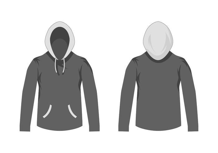 lege grijze hooded sweater sjabloon vector
