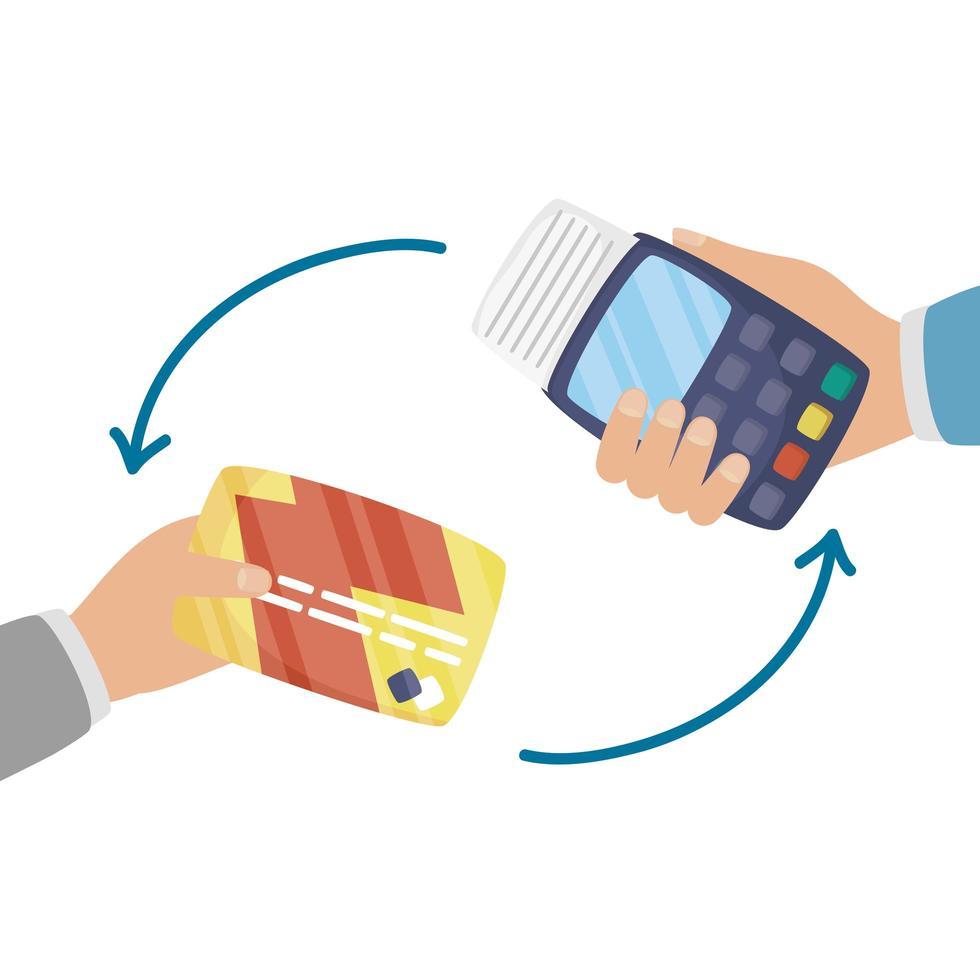 handen met datafoon en creditcard vector ontwerp