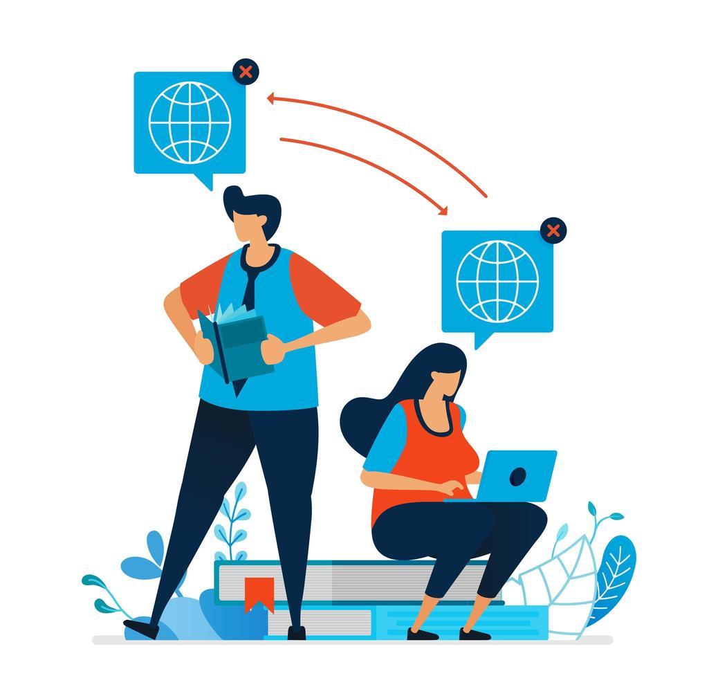 vectorillustratie van afstandsonderwijs voor studenten. studenten leren graag met internet. e-learningtechnologie voor modern onderwijs en studie. kan gebruiken voor bestemmingspagina, sjabloon, ui, web vector