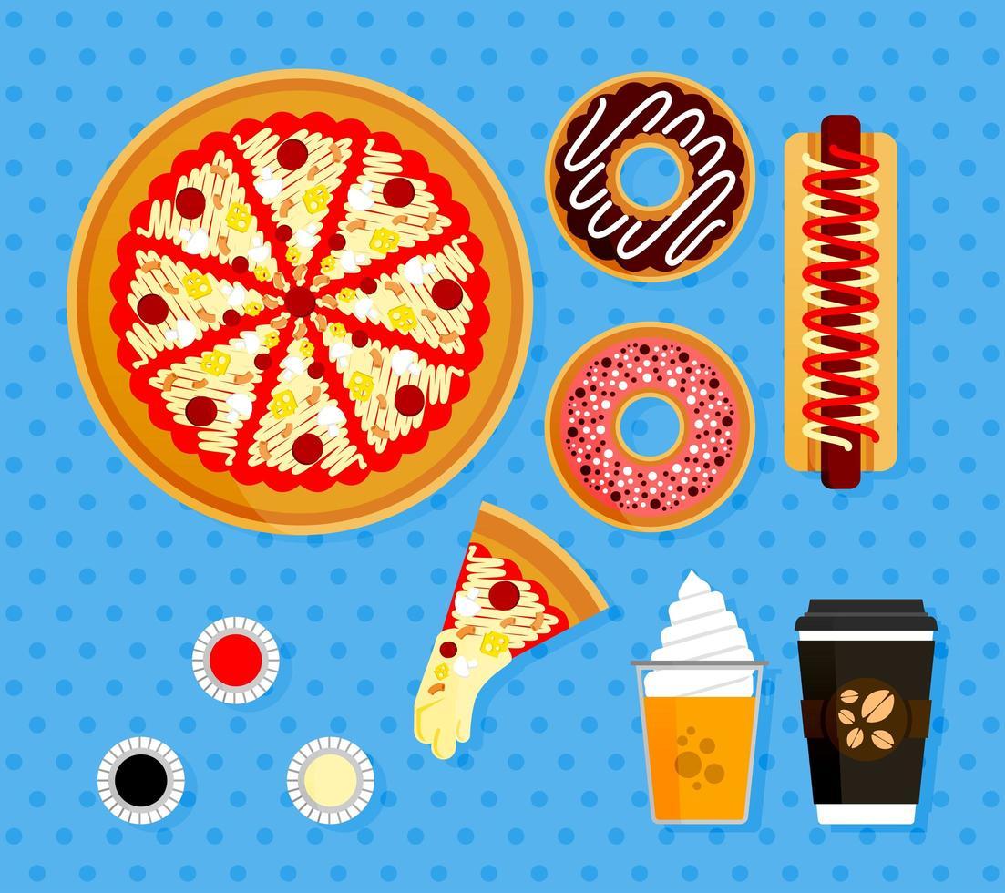 illustratie set pizza bestellingen bij Amerikaanse fastfoodrestaurants. posterelementen van eten compleet met hete koffie, sinaasappelsap met floatijs, plakjes pizza met gesmolten mozzarella vector