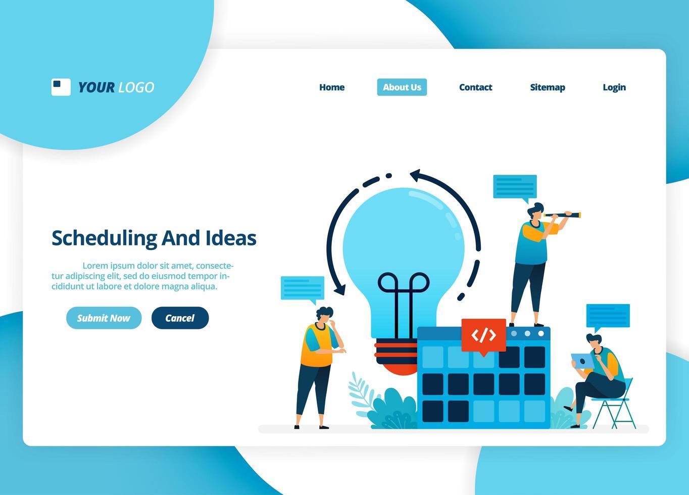 vector bestemmingspagina-ontwerp van planning en ideeën. brainstormen idee voor planningsstrategie. illustratie van bestemmingspagina, website, mobiele apps, poster, flyer