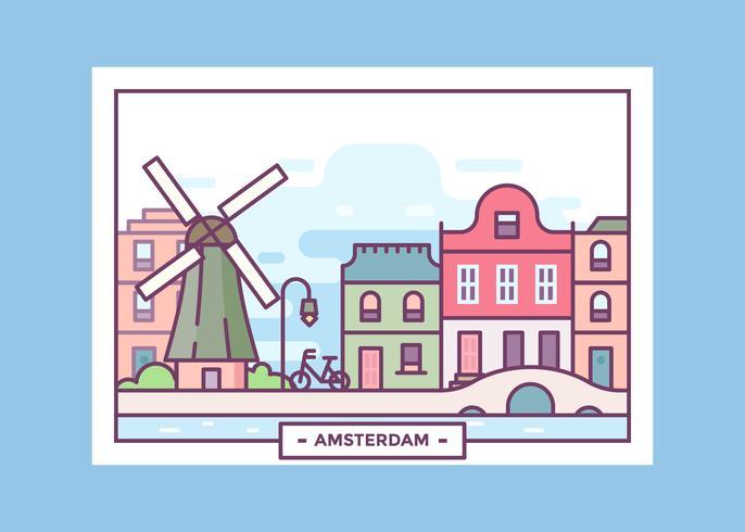 Ansichtkaart uit Amsterdam Vector