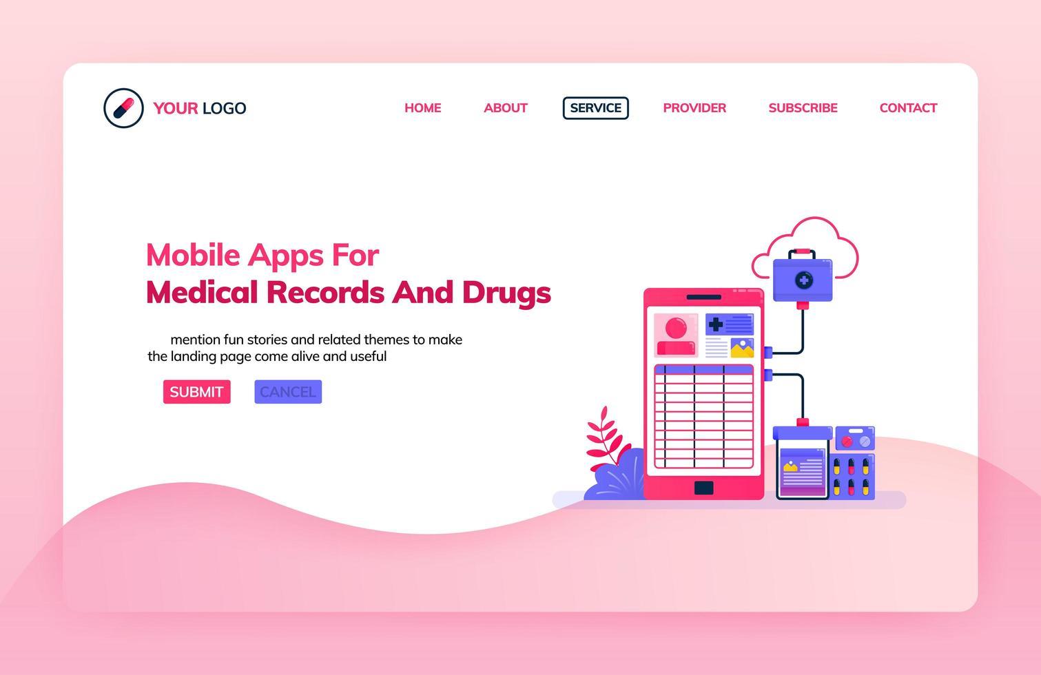bestemmingspagina-illustratiesjabloon van mobiele apps voor medische dossiers en medicijnen. ziekenhuis systeemtechnologie. gezondheidsthema's. kan worden gebruikt voor bestemmingspagina, website, web, mobiele apps, poster, flyer vector