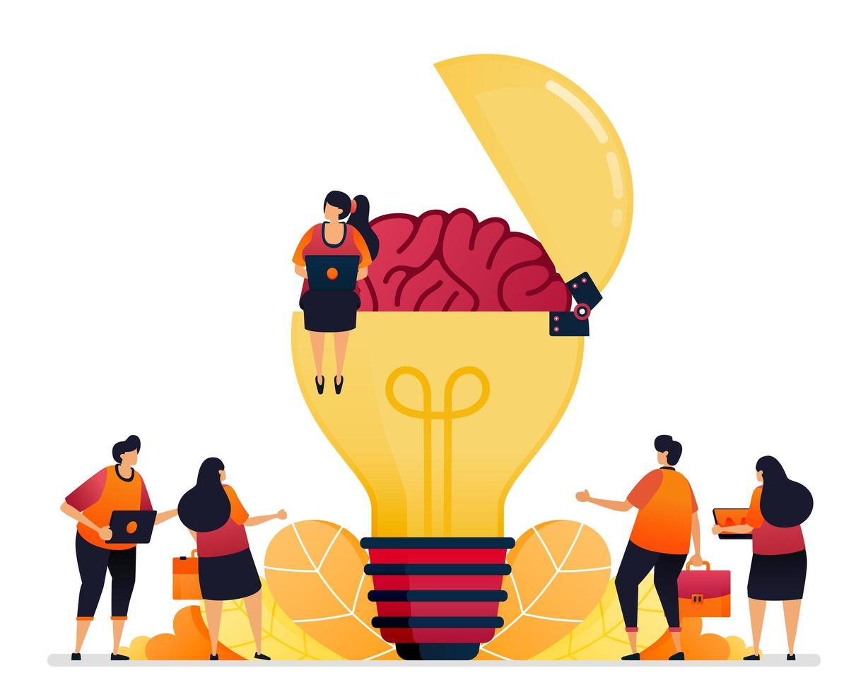 vectorillustratie van het zoeken naar ideeën, oplossingen, het openen van uw creatieve geest. hersensymbool van inspiratie. grafisch ontwerp voor bestemmingspagina, web, website, mobiele apps, banner, sjabloon, poster, flyer vector