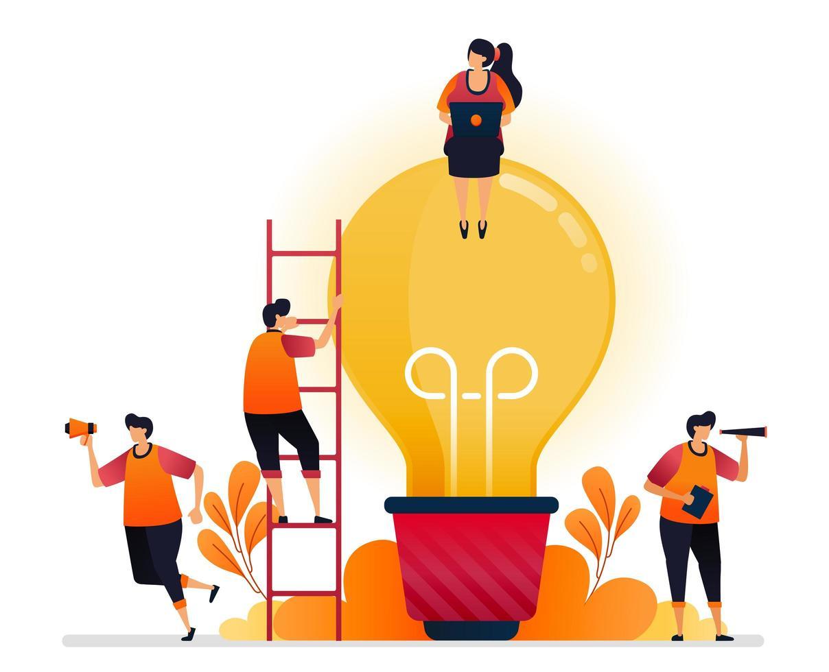vectorillustratie van idee en inspiratie, op zoek naar probleemoplossing met brainstormen en kennis. grafisch ontwerp voor bestemmingspagina, web, website, mobiele apps, banner, sjabloon, poster, flyer vector